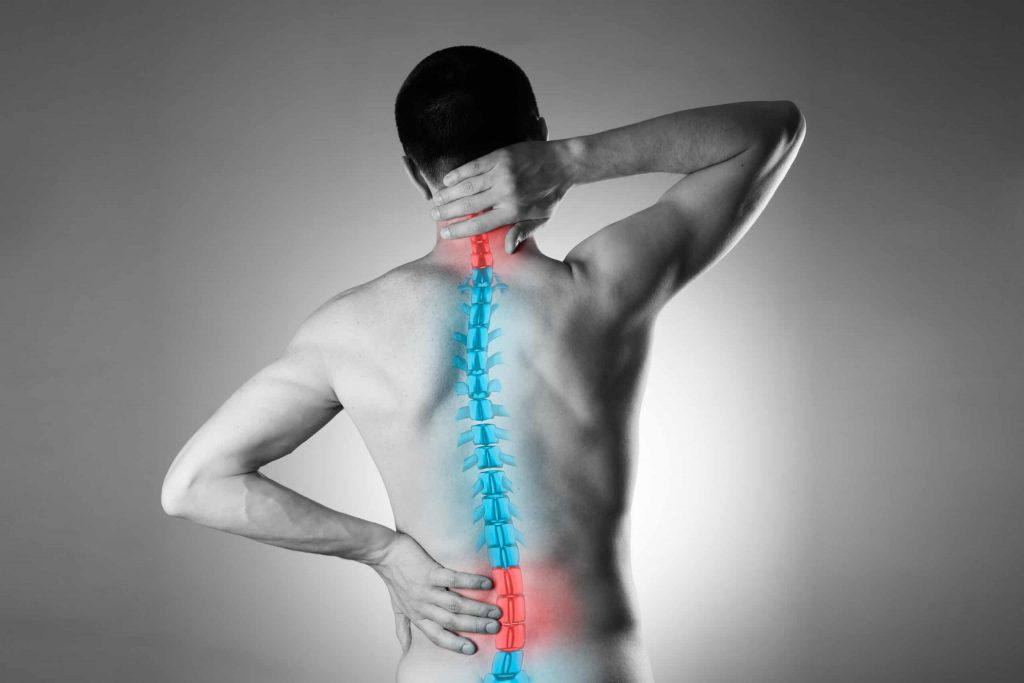 Spina Vita Chiropractic South Africa - Man holding his neck and back with spinal pain visual overlay